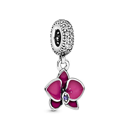Pandora Jewelry Purple Orchid Cubic Zirconia Charm in Sterling Silver