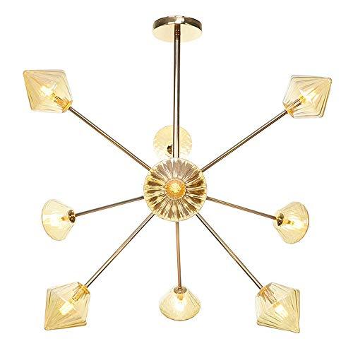 OUJIE LED Cristal Lustre,Verre Satellite De Diamant Type Salon Chambre Restaurant Plafonnier,Illumination Réglable Art De Fer 9 Têtes Lumière,d'or,A