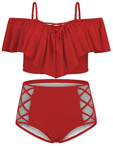 Women Red Plus Size Ruffle Flounced High Waisted...