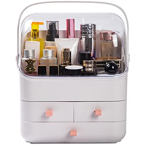 Haturi Makeup Organizer, Waterproof&Dustproof Cosmetic Organizer Box with Lid Fully Open Makeup Display Boxes, Skincare Organizers Makeup Caddy Holder for Bathroom, Dresser, Countertop Bedroom-White