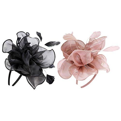 yotijar 2 diademas vintage de cristal 20s Feather para novia, color negro y rosa