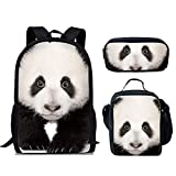 FUIBENG 3 Pieces Lonely Panda Large Backpack with Lunch Box and School Pencil Case