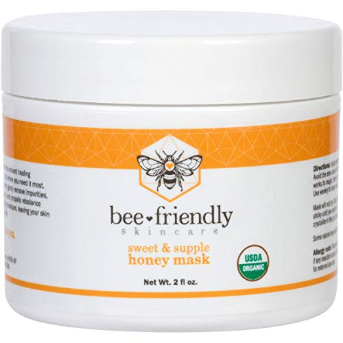 Facial Mask Certified Organic Raw Honey Mask w/French Pink Clay by BeeFriendly, Exfoliating Mask Leaves Skin Soft, Smooth, Youthful, Pulls Impurities, Enhances Collagen Production, Clears Acne 2 oz