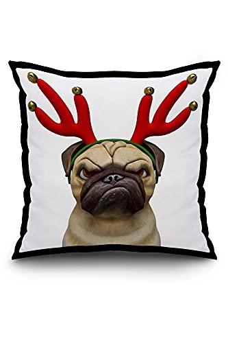 N\A Funny Cartoon of a Grumpy Pug Dog Wearing Christmas Reindeer Antlers 9019035 (Spun Polyester Pillow, Black Border)