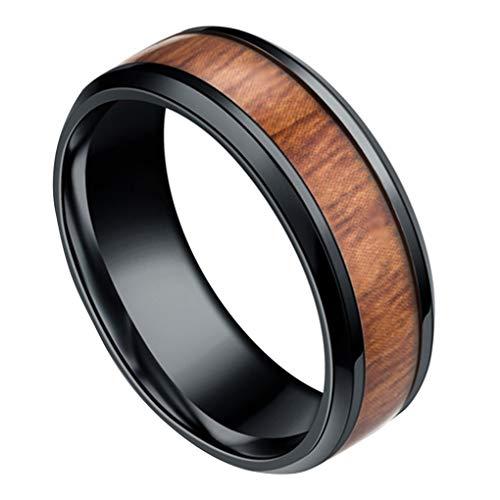 Republe Uomini 8mm Retro Titamium e Tarsia Lignea anello in acciaio inox Anello fascia di cerimonia nuziale Anello Accessori mano