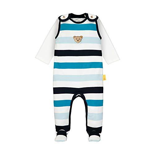 Steiff Baby-Jungen Set Strampler + T-Shirt Langarm Bekleidungsset, Weiß (Bright White 1000), 74 (Herstellergröße: 074)