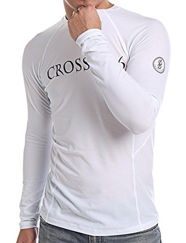 COLO Men Long Sleeve Rash Guard UPF 50+ Lightweight Quick-Dry Surf Swim Shirt High Crew Neck XL