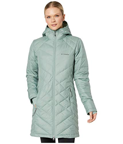 Columbia Women's Heavenly Long Hooded Water Resistant Insulated Rain Jacket, Light Lichen, 3X Plus