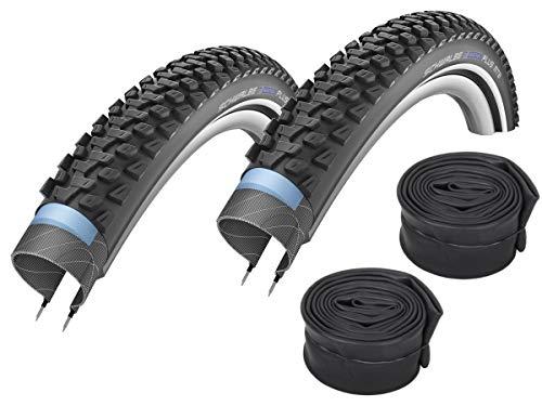 Schwalbe Marathon Plus - Juego de 2 neumáticos reflectantes para bicicleta de montaña (26 x 2,25 pulgadas, cámara de aire Schwalbe con válvula de coche)