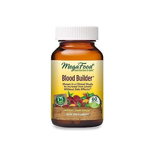 MegaFood Blood Builder, Iron Supplement, Support Energy and Combat Fatigue without Nausea or Constipation, Non-GMO, Vegan, 60 Tablets