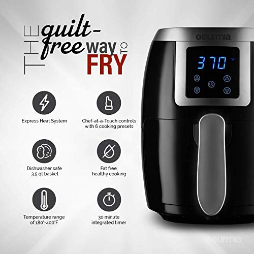 Gourmia GAF228 2.2 Qt Digital Air Fryer - Oil-Free Healthy Cooking - Digital Controls - Removable, Dishwasher-Safe Pan and Tray - Free Recipe Book Included