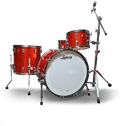 """Ludwig Classic Maple 24"""" Shell Pack Drum Kit w/Snare Drum, Orange Glitter"""