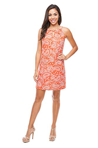 Paisley Keyhole Shift Dress in Orange (Small)