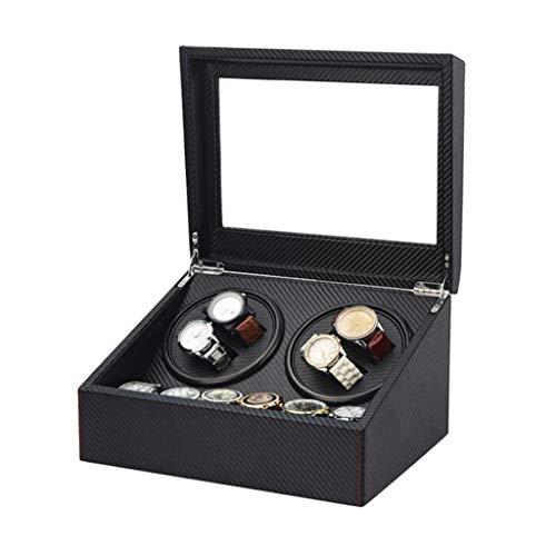Zhna, scatola di stoccaggio per orologi con 4 + 6 griglie elettriche girevoli con carica automatica
