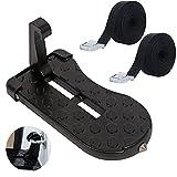Komake Pedal de la Puerta del Techo Coche, Antideslizante Pedal Plegable para Puerta de Coche con Martillo de Segurida, con 2 Piezas de Cinturón de Tensión para Equipaje de Techo, para SUV, RV