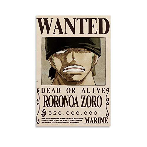 DIDIWEI Avis De Recherche One Piece Zoro Poster décoratif sur toile pour salon, chambre à coucher 30 x 45 cm
