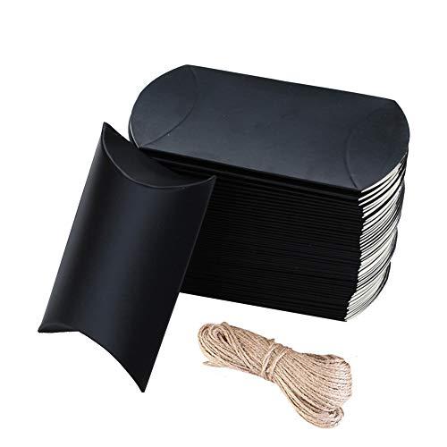 100 cajas de regalo de papel kraft con cuerda, caja de almohada de papel kraft vintage, cajas de caramelos de boda, cajas de papel kraft para dulces, cajas de decoración con cuerda