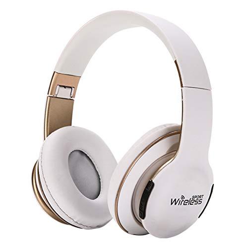 Wsaman Auricular Bluetooth Over-Ear, Impermeable Cascos Inalambricos Cancelación del Ruido Auricular Hi-Fi Sonido Estéreo Plegable Portátil para Celular/Running Dispositivi Bluetooth Earphones,Blanco