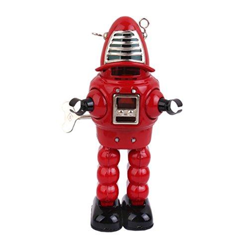 sharprepublic Robbie Rojo Vintage, Juguete de Hojalata, Robot de Cuerda de Reloj, Chispas en Casco