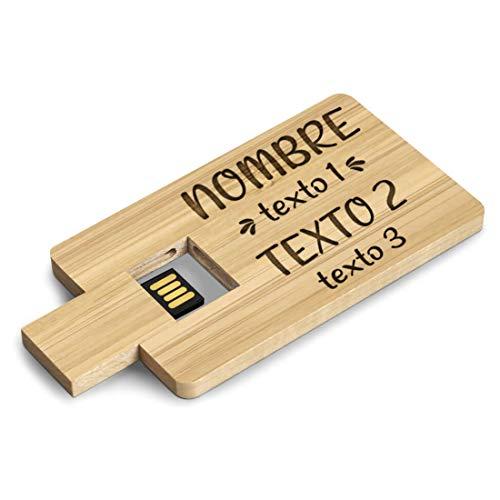 Memoria Pendrive USB Personalizable con Nombre o Texto - Flashdrive Personalizado Madera...
