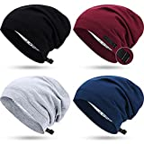 4 Pieces Satin Lined Sleep Cap Adjustable Slouchy Beanie Hat Elastic Night Hair Cap for Women Girls (Black, Blue, Wine Red, Gray)