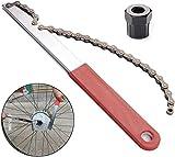 Helaryfreemear Kit de herramientas de cadena de bicicleta, rueda libre de cadena de bicicleta látigo casete piñón removedor herramienta de reparación de cadena de bicicleta