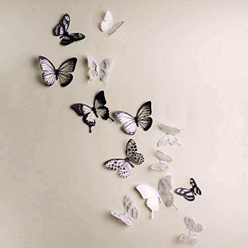 IKAAR 18 Pieces Butterfly Wall Sticker 3D Wall Stickers Living Room Wall Art Stickers Butterflies for Home Living Room Babys Bedroom Showcase Nursery Wall Art Decor (Black and White)