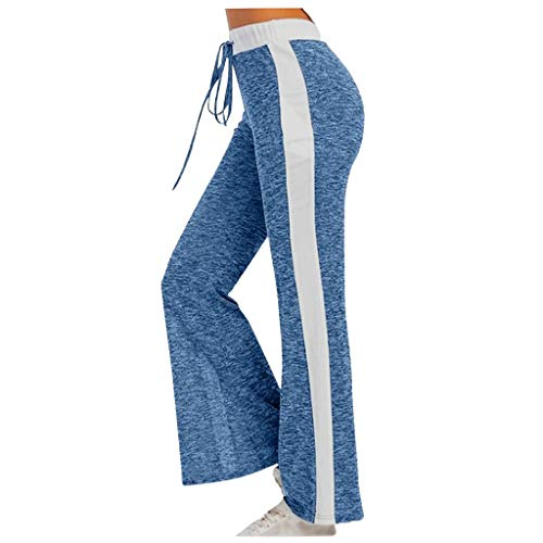 Women Drawstring Sweatpants Fashion Ladies Elastic Waist Leisure Loose Solid Patchwork Trousers Active Workout Running Yoga Wide Leg Long Pants