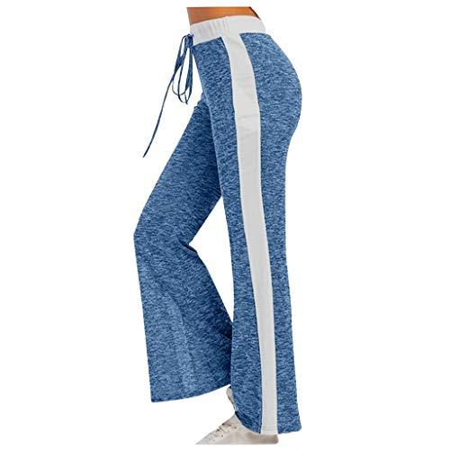 Fenverk Damen Jogginghose Sporthose Freizeit Hose Lang Für Jogging Laufen Fitness Traininghose Mit Streifen,Yoga Hosen Freizeithose Laufhosen High Waist Trainingshose Frauen(Blau,L)