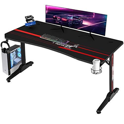 Devoko Gaiming Tisch 140 cm Gaming Schreibtisch Gamer Computertisch Ergonomischer PC Schreibtisch mit Getränkehalter und Kopfhörerhalter T-förmiger, Schwarz