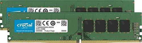 Crucial CT2K16G4DFD824A 32GB Kit (16GB x2) Speicher (DDR4, 2400 MT/s, PC4-19200, Dual Rank x 8, DIMM, 288-Pin)