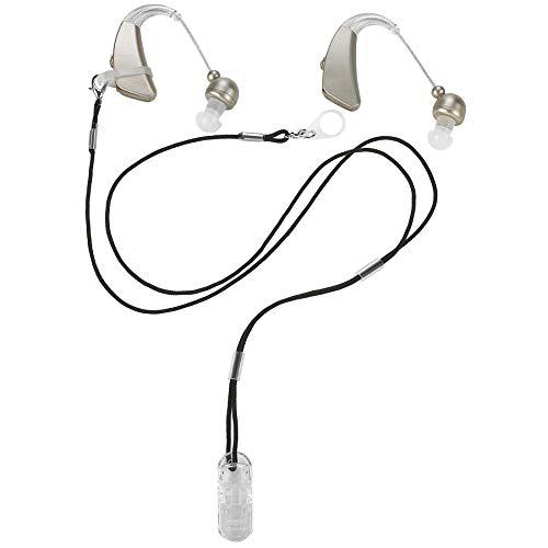 Clip per apparecchi acustici - Supporto di protezione con cordino anti perdita - Corda con loop e clip e clip di sicurezza Ideale per apparecchi acustici dietro l'orecchio e amplificatori