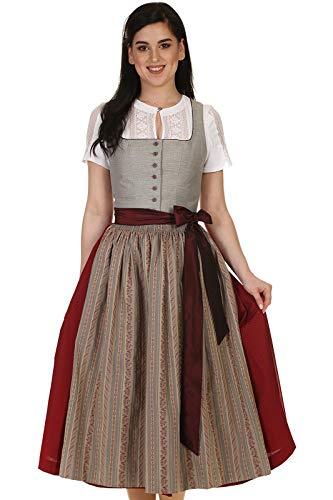 Hammerschmid Damen Dirndl festlich wadenlang Mieder in Leinenoptik 80cm Chiemsee 1912063-29 grau Gr. 40
