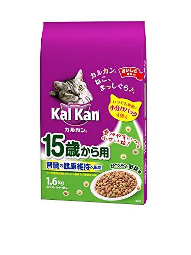 カルカン ドライ 15歳から用 腎臓の健康維持へ配慮 かつおと野菜味 キャットフード 高齢猫用 1.6kg×6個 (ケース販売)