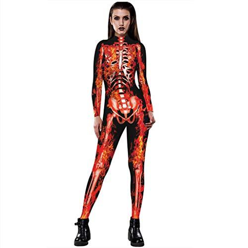 Lenfesh Damen Halloween Unheimlich Gespenstisch Bodycon Party Cosplay Kostüm Overalls (M, Orange 1)
