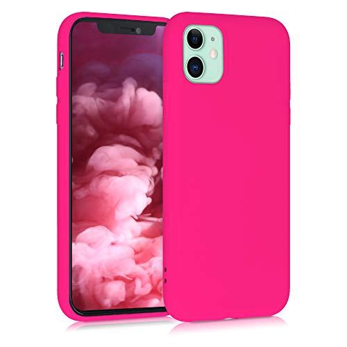 kwmobile Cover Compatibile con Apple iPhone 11 - Custodia in Silicone Effetto Gommato - Back Case Protezione Cellulare - Rosa Shocking