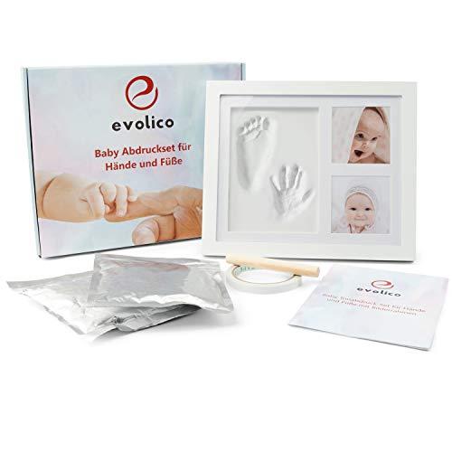Evolico - Premium Baby Handabdruck und Fußabdruck Set, Gipsabdruck Baby Hand und Fuß, Fußabdruck Baby Set, Handabdruck Baby, Baby Bilderrahmen, Baby Abdruckset, Baby Gipsabdruck Set, Baby Geschenk