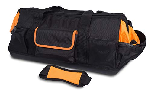 Internet's Best Soft Sided Tool Bag - 25 Inch - 22 Pockets - Wide Mouth Hard Base Tool Storage and Organizer Box