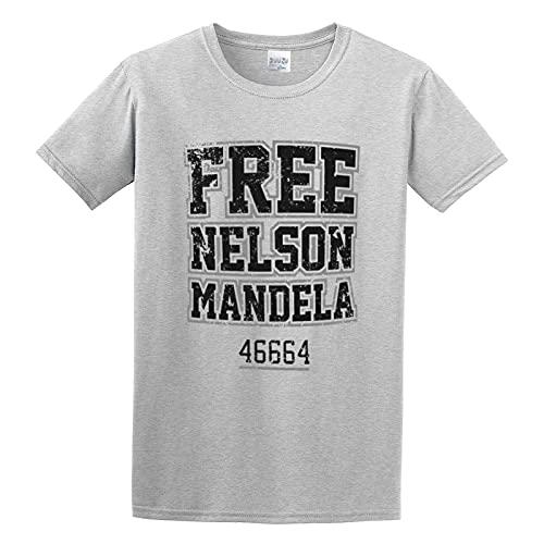 FEIJIANG Free Nelson Mandela South African President 46664 Short Sleeve Mens Shirt S, Gray