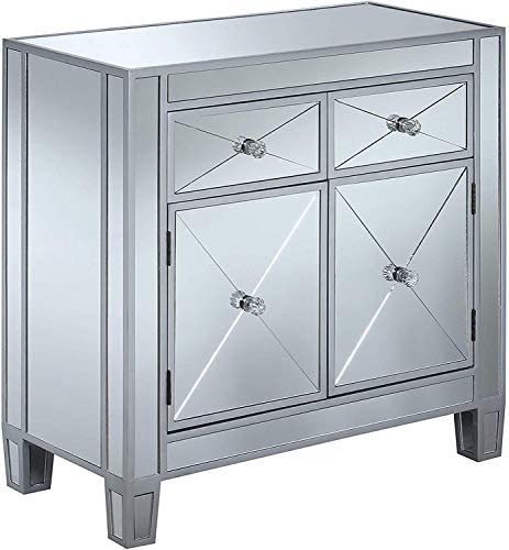 Best Convenience Concepts Gold Coast Vineyard 2 Drawer Mirrored Hall Table, Silver