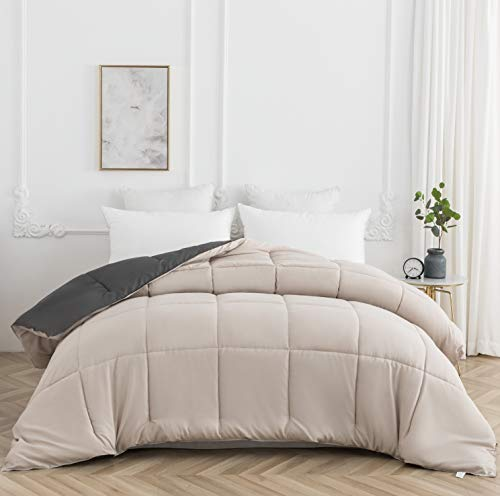 AYSW Duvet Double Comforter Warm and Anti Allergy All Season Dark Grey and Beige NO Pillowcases Only Quilt 10.5 Tog Duvet