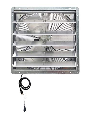 iLIVING ILG8SF24V-T 24 inch Shutter Exhaust Attic Garage Grow, Ventilation Fan with 2 Speed Thermostat 6 Foot Long 3 Plugs Cord, 24' - Variable, Silver
