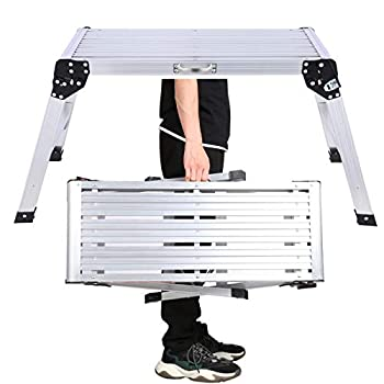 Aluminium Work Platform 30in with Carry Handle 330 lb Duty Rating Portable Folding Step Ladder Anti-Slip Workbench for Washing Vehicles Ceiling/Windows Cleaning Painting Wallpapering Decorating