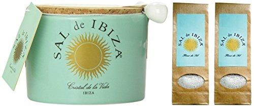 Sal de Ibiza - Fleur-de-Sel - im Steintopf + Nachfüllpack (2x 150 g)