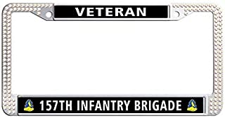 Toanovelty 157th Infantry Brigade Veteran Colorful Glitter Rhinestones Car Tag Frame, Waterproof Bling Crystal Car License Plate Holder 6' x 12' in