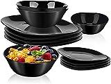 DANMERS 18-Piece Dinnerware Set Black Kitchen Dinner Set Service for 4, Square Glass Plates Bowls Set Crack Resistant