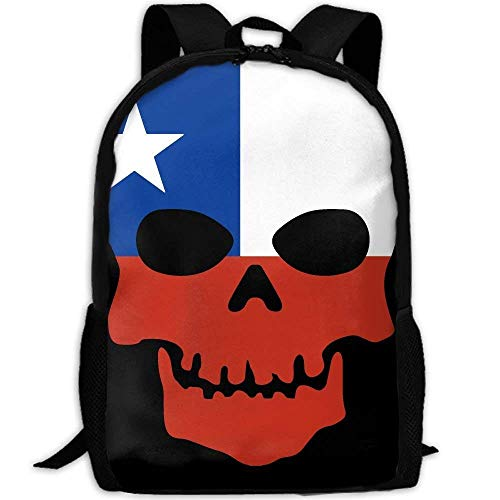 TTmom Zaini/Zaino Casual,Borse a Zainetto, Skull Skeleton Chile Flags Of Countries Print Custom Casual School Bag Backpack Multipurpose Travel Daypack