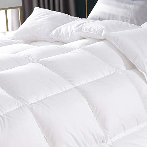EDUJIN 100% Cotton Cover White Goose Duck Down and Feather Comforter Down Duvet Insert or Stand-Alone Comforter (White-Heavy, 68 by 90 Twin)