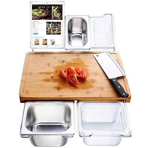 Ausziehbares Multifunktions-Schneidebrett, Bambus Schneidebrett mit 4 Behältern 1Tablettenstütze für Küche mit Saftrille, Servierbrett für Fleisch Brot Obst