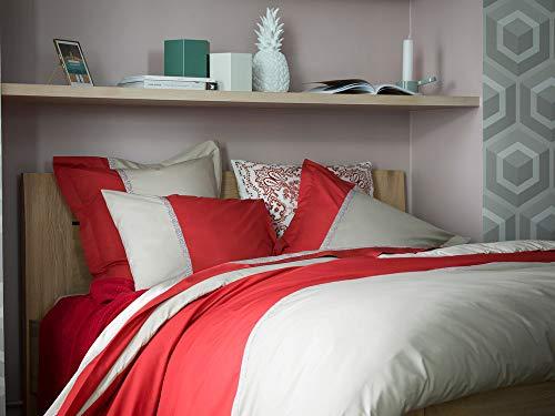 Essix Toi&Moi Bandana Taie d'oreiller Coton/Percale de coton Sienne 65 x 65 cm